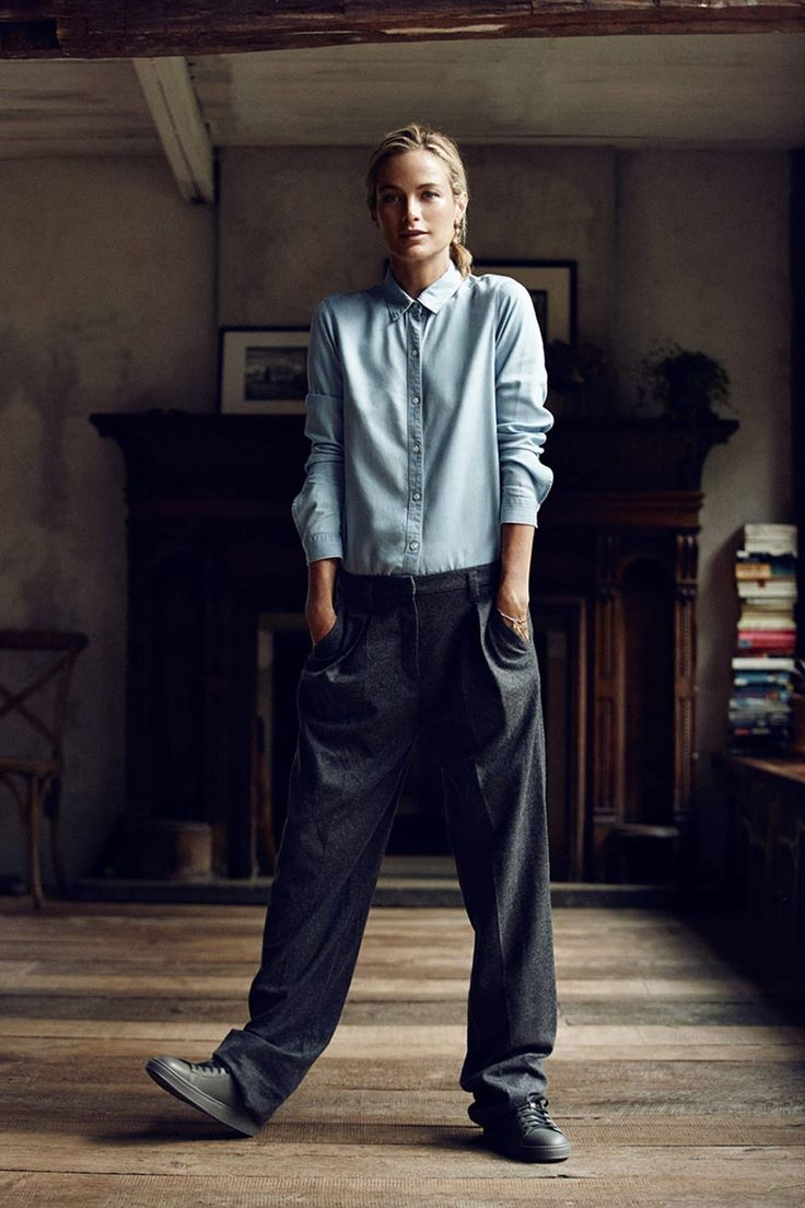 minimalist tomboy looks; loose fit pants styled with a classic denim shirt