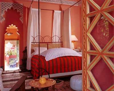 orange red and pink moroccan bedroom style decorating ideas hom - Moroccan Bedroom Decorating Ideas