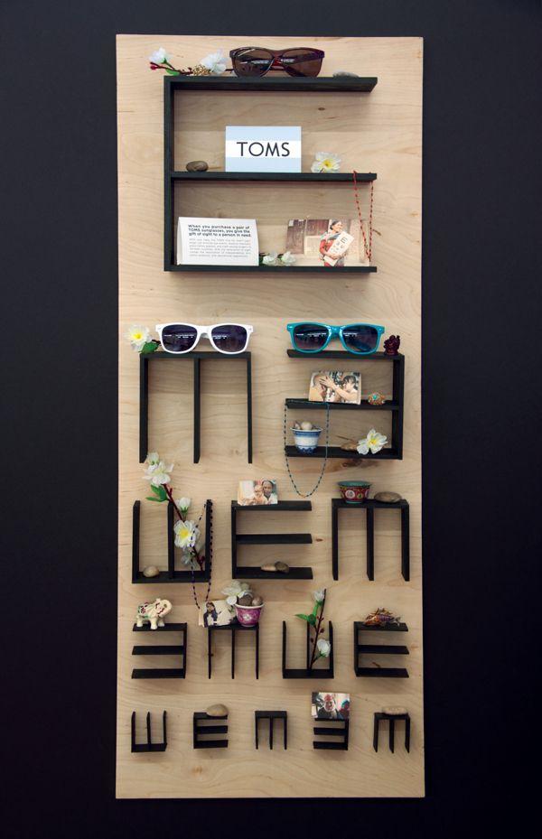 Tumbling E shelves