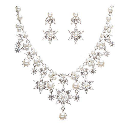 Pearl Jewellery Necklace >> Bridal Wedding Jewelry Set Crystal Rhinestone Pearl Snowflake Stunning Necklace | Women ...