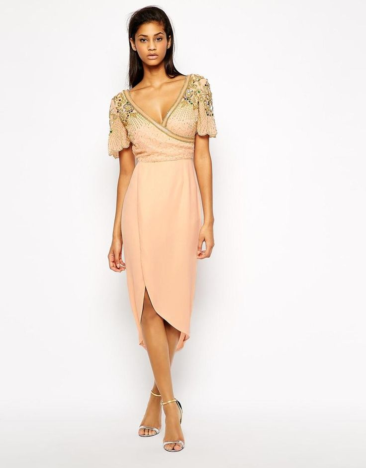 Virgos Lounge   Virgos Lounge Julisa Wrap Front Midi Dress With Embellished Shoulder at ASOS
