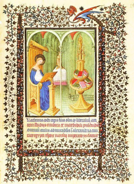 Catharina van Alexandrië - Catharina in haar studeervertrek. ca 1410, gebroeders Limburg,  illuminatie getijdenboek Duc du Berry. USA, Cloisters.