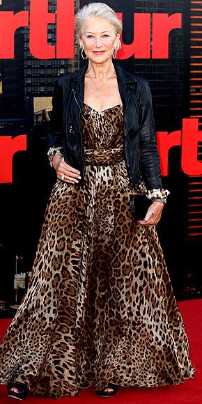 Leopard print and leather.  Helen Mirren looks gorgeous and is working it at 66! #ageisonlyanumber