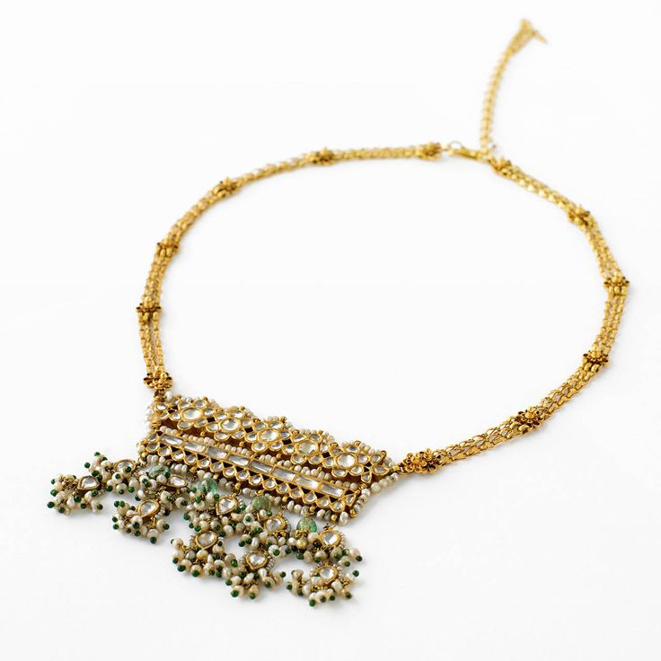 Indian Nimboli Panch Mania Five Gem Gold Necklace 19th Century image 2