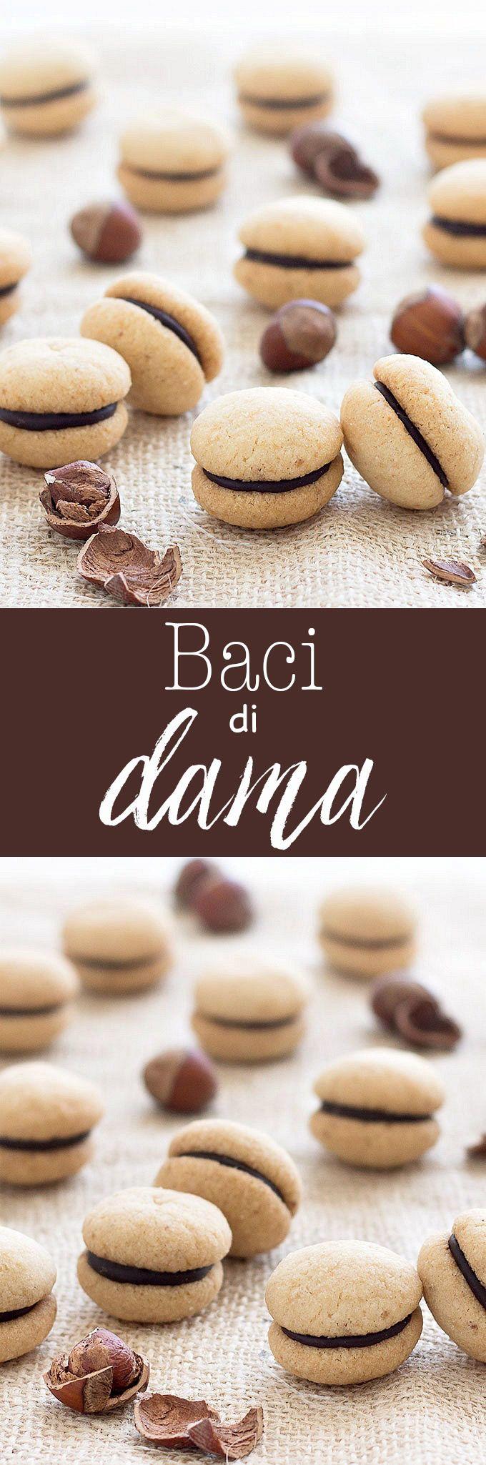 Baci di Dama ( Italian Hazelnut Cookies): buttery hazelnut cookies filled with a dollop of dark chocolate or Nutella  recipe  dessert  easy