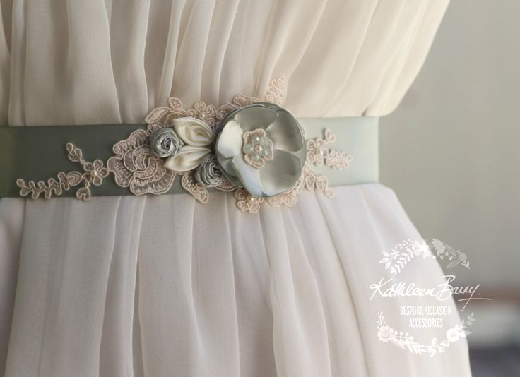Wedding dress sash Bridal belt - floral with lace - ivory sage green sea foam shades - sea glass - colors to order STYLE: Tiffany by KathleenBarryJewelry on Etsy https://www.etsy.com/listing/471568866/wedding-dress-sash-bridal-belt-floral