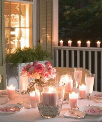 warm pinks and peach, candlelight
