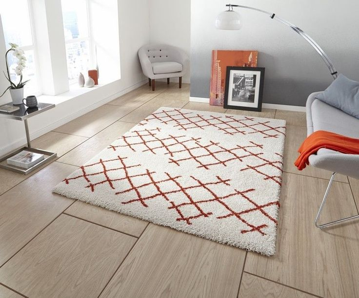 Cream orange contemporary shaggy rug 120 x 170 cm ~ 4ft x 5ft7