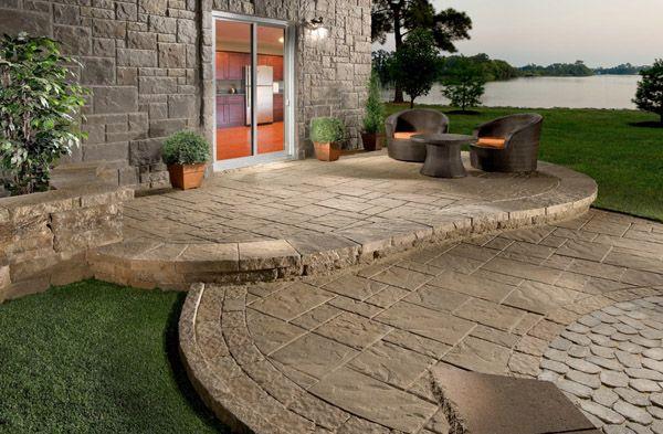concrete patio on slope | best patio materials | yard ideas ... - Concrete Patio Resurfacing Ideas