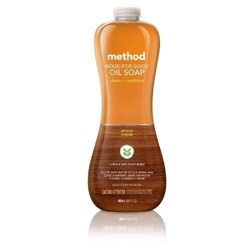 Method Wood for Good Oil Soap, Almond, 36 Fluid Ounce by Method (AOXI9). $5.99. recyclable bottle made with 100% recycled plastic (PCR). Never tested on animals. Gently and safely cleans and conditions wood. No wax formula leaves no residue. For mega messes and vast woody surfaces, mix yourself up a batch of ultra-concentrated wood oil soap. The renewable cleaners derived from corn + wood fibers cut dirt + odors with ease. Plus, it conditions while leaving a natural sh...