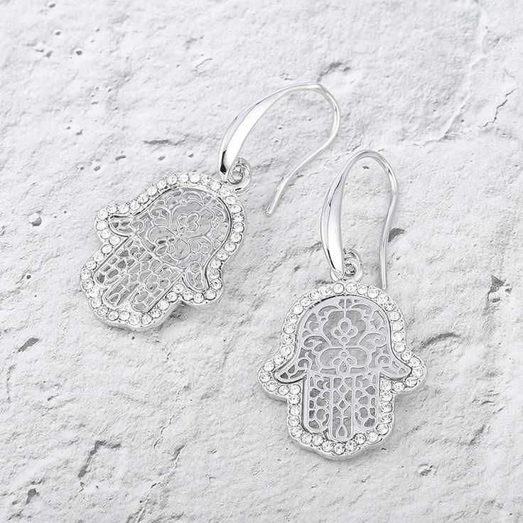 Women Dangle Earrings,Fatima's Hand Drop Earring for Girls Hook Earring with CZ Crystal * Check out this great product. (This is an affiliate link) #JewelryForSale