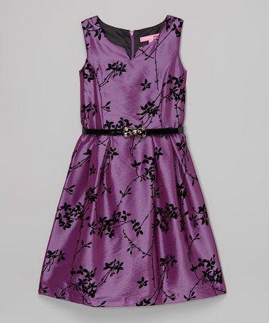 Look at this #zulilyfind! Purple & Black Floral Belted Dress - Girls #zulilyfinds
