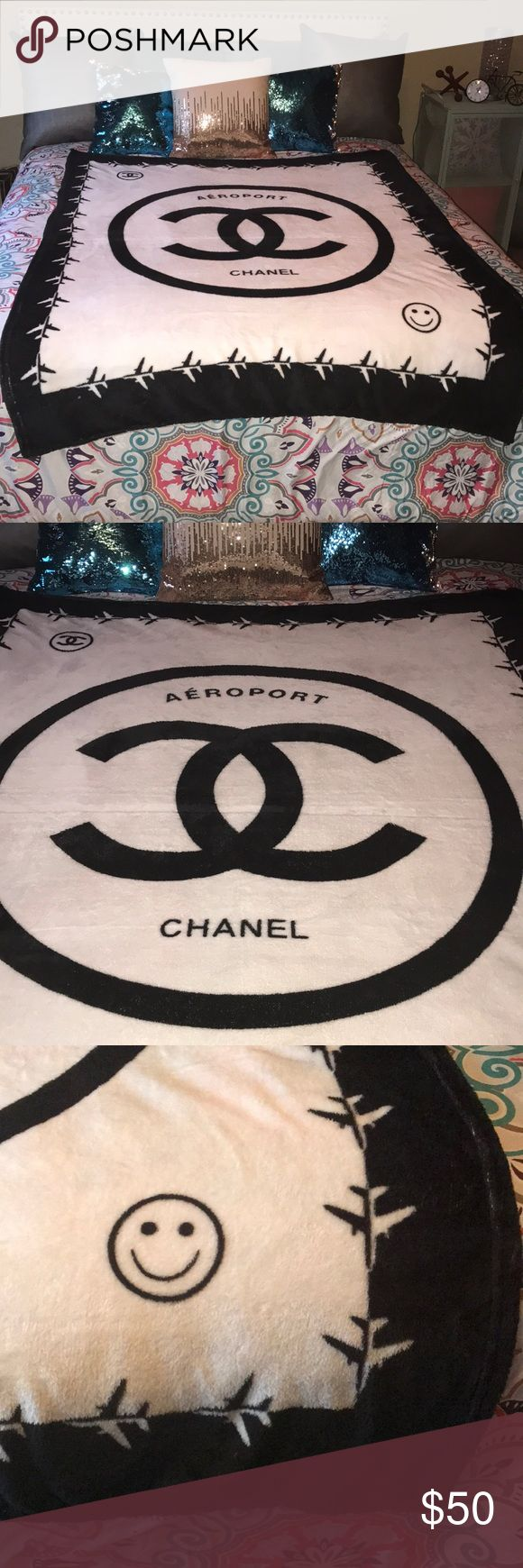 Chanel VIP Aero Sport Blanket throw 5'x4' Chanel VIP throw blanket with CC logo Aero Sport.  Blanket measures 4' wide and 5' Long. Would fit on twin bed to add to Chanel decor or use as a throw. Blanket is very thin soft fleece material. Will not keep you very warm.  This is a vip item and made in China. Comes with plastic bag. Perfume and smoke free home CHANEL Accessories