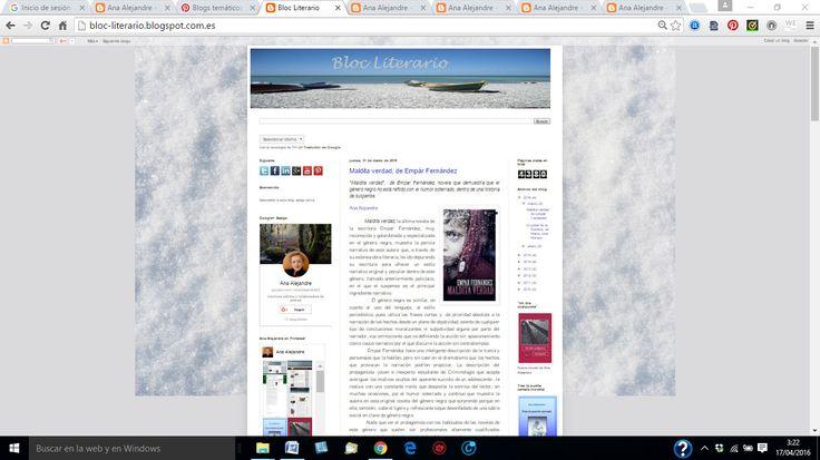 """""""Bloc Literario"""" dedicado a la crítica literaria, ofrece las críticas de la novela """"Maldita verdad"""", y """"El poder de la Sombra"""" de María José Moreno."""