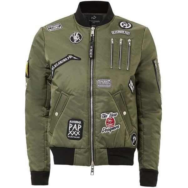 TOPMAN The New Designers Khaki Badge Padded Ma1 Jacket ($265) ❤ liked on…
