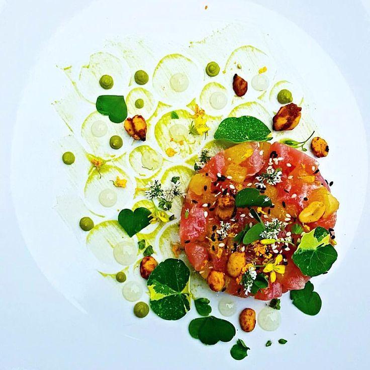 una • Yellow watermelon • Spicy peanuts • Koboso ...dish by @cheflangdon13 #soignefood  Follow us 4 the finest food fotos FIRST