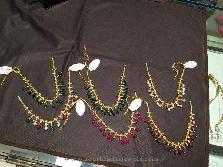 Gold Short Beaded Necklace Designs, Gold Beaded Necklace Designs.12-20  gms