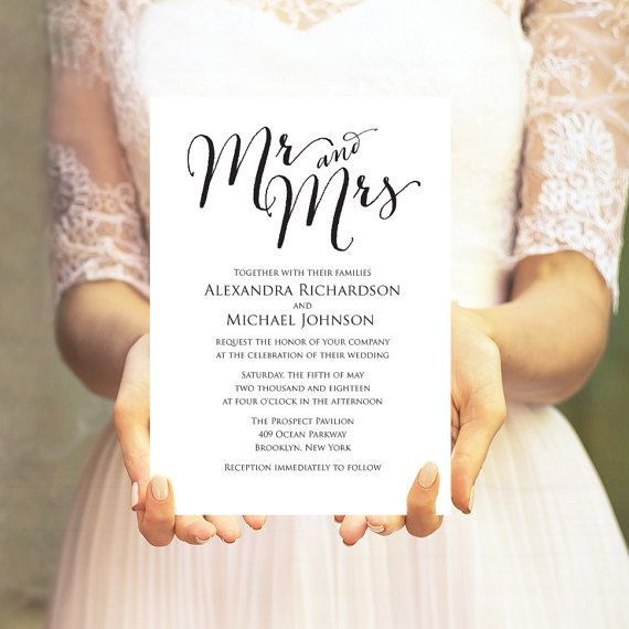 Mr. and Mrs. Wedding Invitation Template by CrossvineDesigns