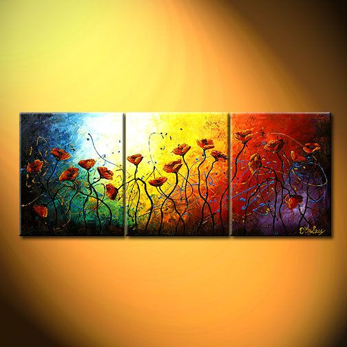 D'Oyley Huge Original Paintings contemporary modern abstract triptych large RED POPPIES art