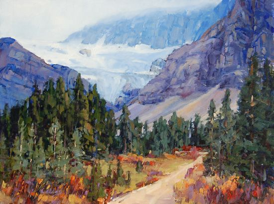 "'Trail to Crowfoot View' 12 "" x 16"" Oil on Panel by Mountain Galleries artist Jean Geddes"