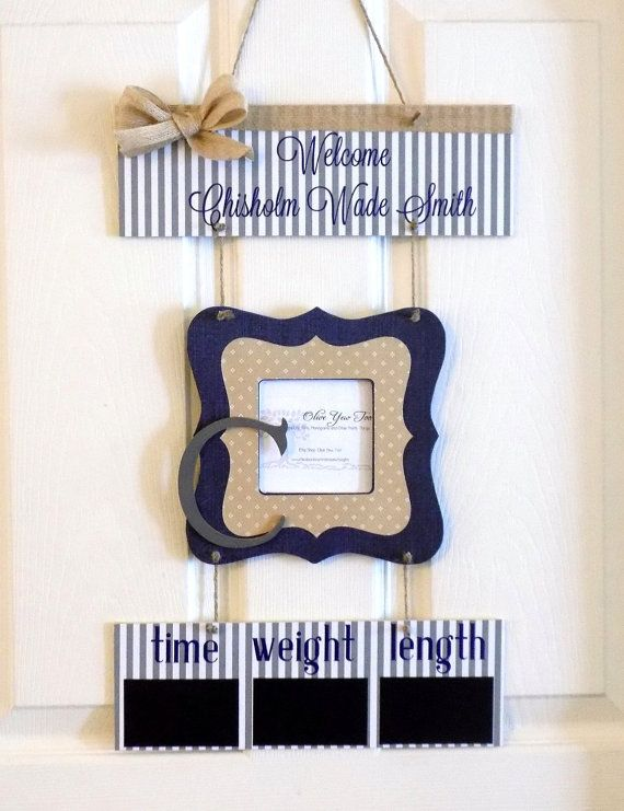 Welcome Baby Boy Navy Tan & Gray Rustic Hospital by OliveYewToo