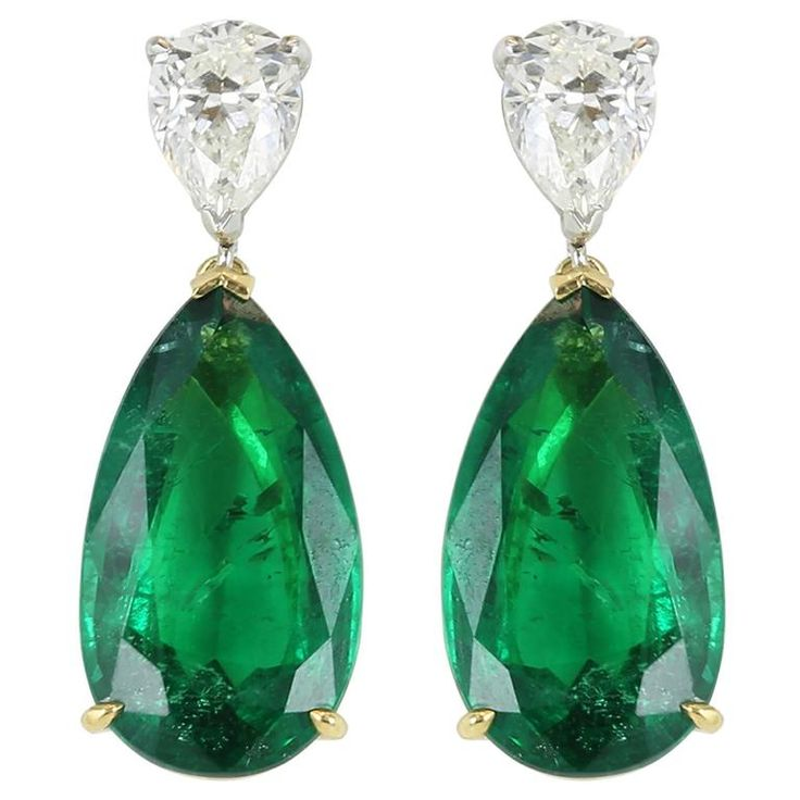 Emerald and Diamond Drop Earrings | From a unique collection of vintage drop earrings at https://www.1stdibs.com/jewelry/earrings/drop-earrings/