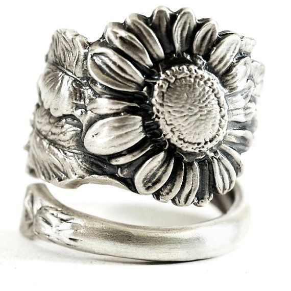 Sunflower Ring Sterling Silver Spoon Ring Art Nouveau by Spoonier