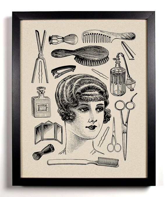 Hers, Vintage Woman and toiletries Art Print 8 x 10 Buy 2 Get 1 FREE scissors brush flat iron perfume beautiful- for me- goes along with the