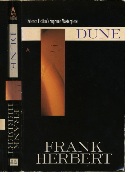 "Dune - a science fiction classic by Frank Herbert. And as the back cover says ""A stunning blend of adventure and mysticism, environmentalism and politics""."