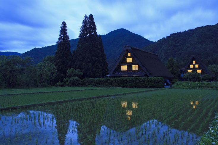 Traditional villages have survived in a remote, mountainous region of Japan. Gassho-style houses are located in a human environment that has been adapted over centuries.