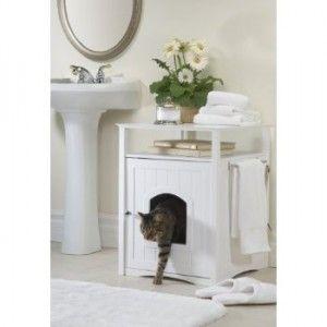 arenero para gato oculto en mueble baño