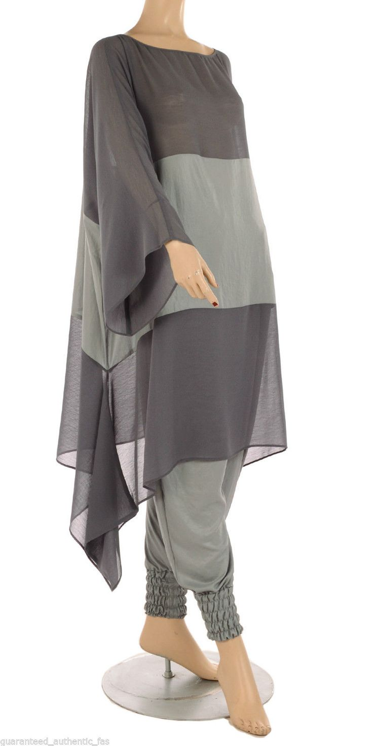 "Sale Hebbeding ""Alomory"" Beautiful Grey Crepe Oversized Tunic Sizes 1 or 2 or 3 