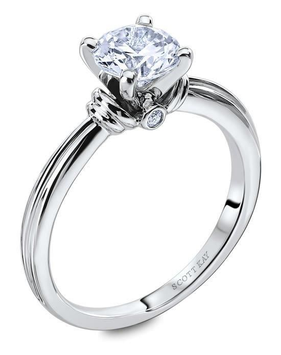 Scott Kay white gold engagement ring with fluted solitaire mounting and accented bars I Style: M2093R310 I https://www.theknot.com/fashion/m2093r310-scott-kay-engagement-ring?utm_source=pinterest.com&utm_medium=social&utm_content=june2016&utm_campaign=beauty-fashion&utm_simplereach=?sr_share=pinterest