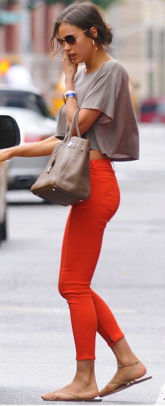 Coral jeans + grey T                                                                                                                                                      More