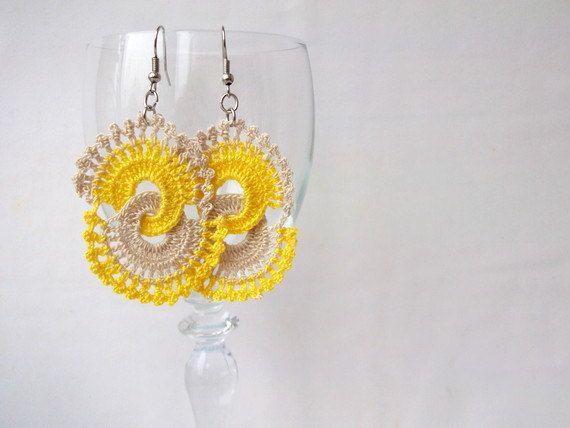 Yellow and Beige Crocheted Earrings. $8.90, via Etsy.