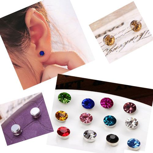 New 24pcs/Lot 4-6 mm No Hole Round Crystal Magnetic Magnet Earrings For Women Men Punk earrings 3061