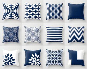 Cuscini di tiro di blu, blu cuscini, federe decorativi Blu Navy, cuscini di tiro di Chevron, coprire solo i cuscini decorativi
