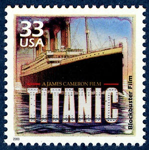 James Cameron's 1997 blockbuster film, Titanic, won 11 Academy Awards, and was comemorated on a Celebrate the Century stamp.
