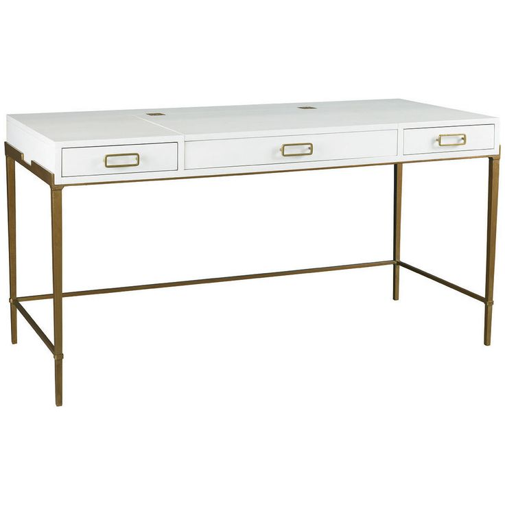 Hickory White A la Carte Bailey Desk with Gold Base