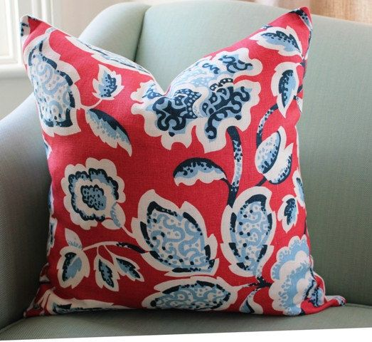 Long time admirer of this fabric. Love the mix of pale blue, indigo blue and ruby red combo. Looks great with Schumachers Betwixt in the Indigo colourway, and David Hicks Hippy Beads. Both coordinates pictured here are listed separately in my shop.   This listing is for one single 18 inch cover. If you would like a pair just add 2 to the quantity. * Knife edge * 100% linen * Zipper closed * Reverse in a plain, med weight ivory drapery fabric * Serged, overlocked seams * Dry clean only    I…