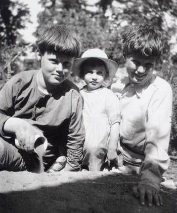 Quentin, Angelica and Julian Bell, the children of the artist Vanessa Bell, at Charleston