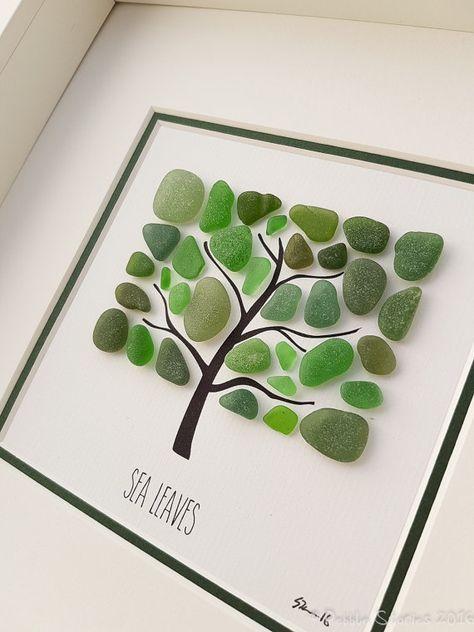 Seaglass Kunst - Seaham - Strand Bild - Wandkunst - Baumkunst - Familie Geschenk - Wohnzimmer - Strandhaus - Küche - Geburtstag