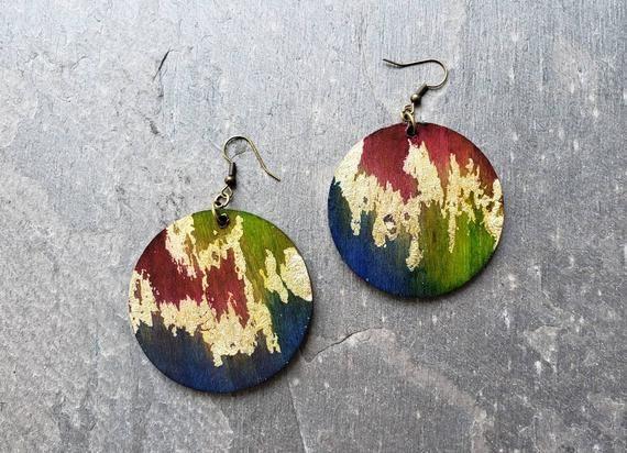 Wooden stud earrings ecological and vegan natural handmade