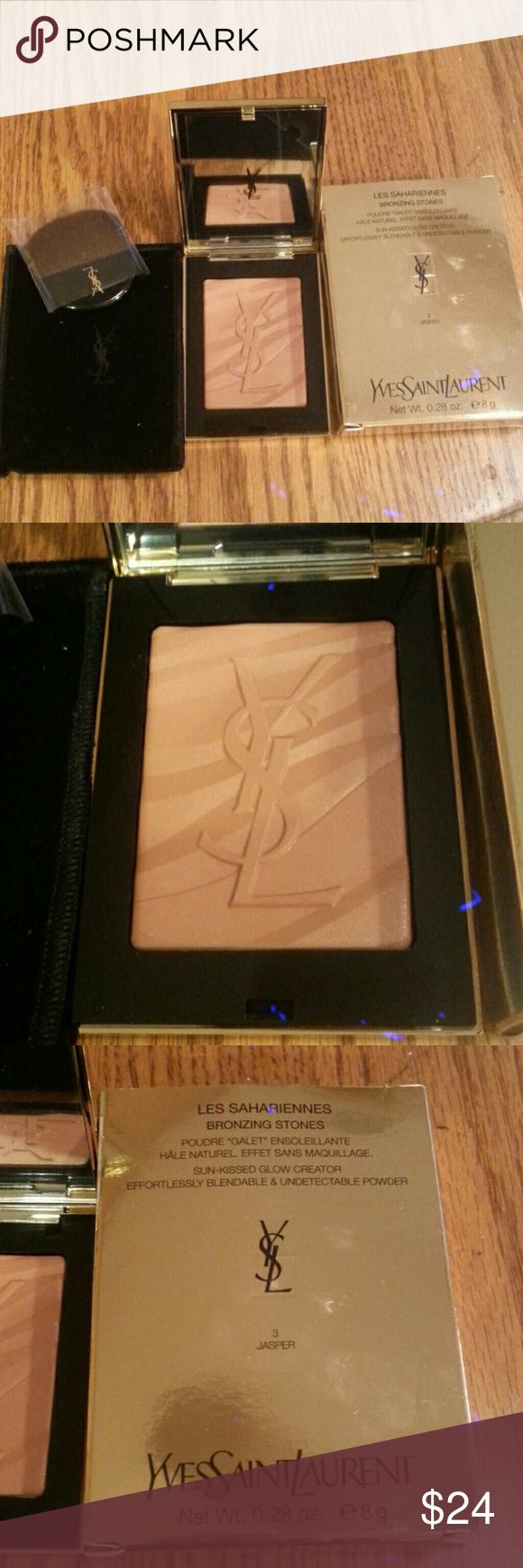 YSL Bronzer YSL Les Sahariennes Bronzing Stones Bronzer. New in original box, never used. Comes with velvet storage pouch and brush. A deeper shade, not suitable for light skintones. Shows no powdery residue on skin, blends seamlessly. YSL Makeup Bronzer