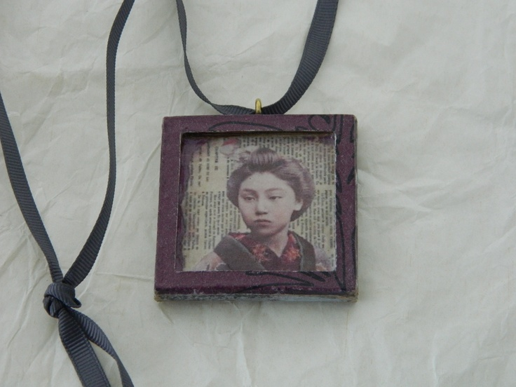 decoupage frame, worn as a necklace