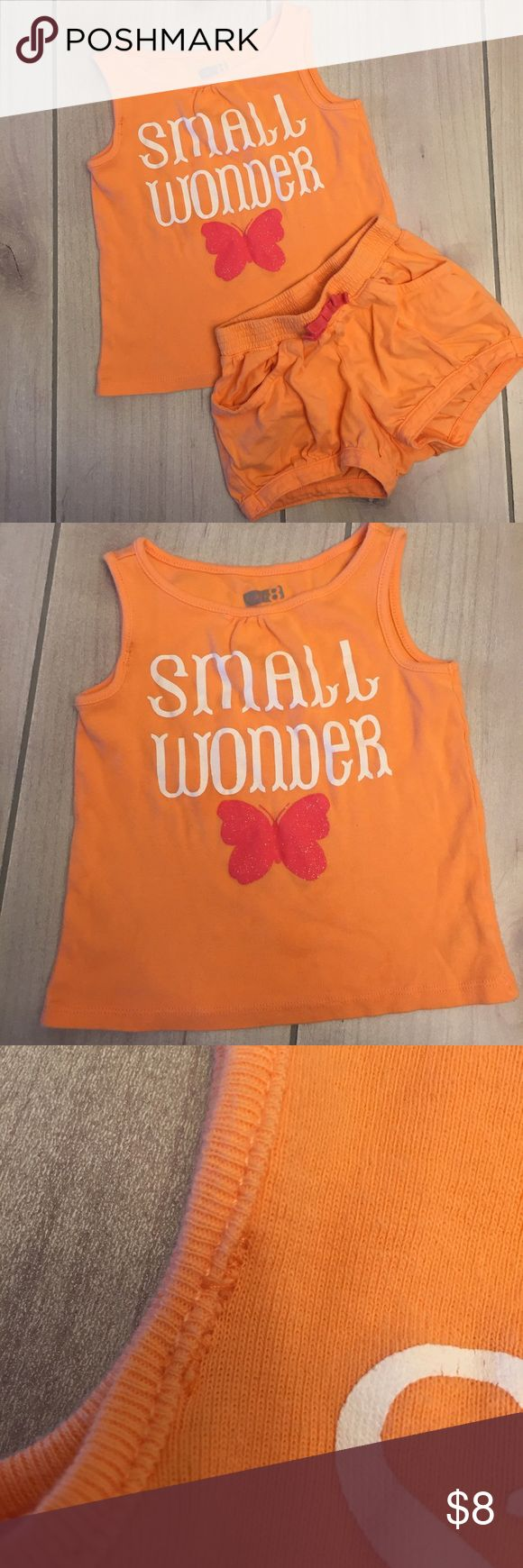 """Peach/orangish outfit Cute peach shorts and tank top outfit. Top did have a small area about 1/4"""" where it wasn't stitched when I received it (ordered from Crazy 8) so my mom hand stitched it (see pic) you can't really tell unless your looking for it. Crazy 8 brand size 18-24 month. 3/22/75 Crazy 8 Matching Sets"""