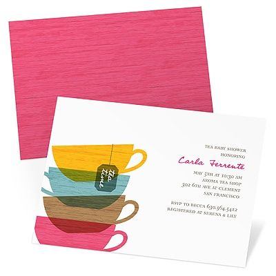 All Stacked Up -- Tea Party Baby Shower Invitations