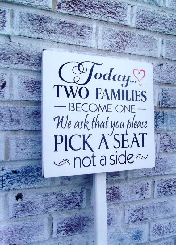 """Wedding seating signs """"Today two families become one"""" on stake-outside wedding signs-country beach casual plan"""