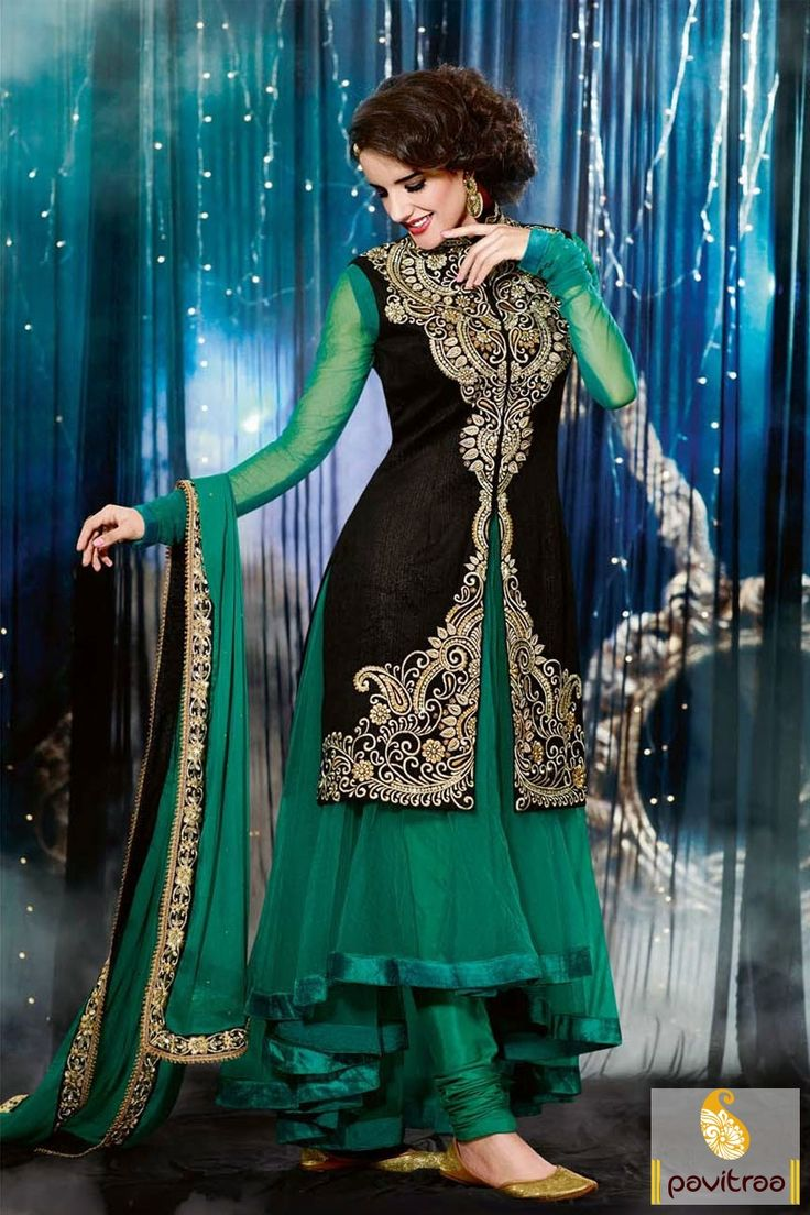 Pavitraa Green with Black Long Anarkali Salwar Suit Rs 4338  #designersalwarsuits #bridalsalwarsuits #salwarsuitsonline #onlinesalwarsuits