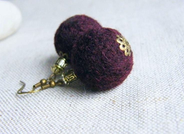 BUY 2 GET 1 FREE   Rosewood Felt Earrings Maroon Merino Wool Felted Earrings Handmade Felt Jewelry. $12.50, via Etsy.